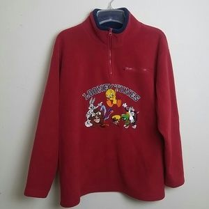 Mens WB Looney Tunes Character 1/4 Zip Sweater